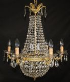 LARGE VINTAGE EMPIRE CHANDELIER FRENCH  TENT & BAG CEILING LIGHT - Ref: AJN6